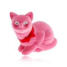 Šperky eshop - Zamatová krabička na náušnice, ružová mačka s mašľou VY1