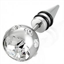 Falošný piercing v striebornej farbe - veľká guľa so zirkónom, špic s dvoma čiernymi gumičkami