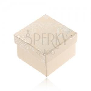 Krémovobiela krabička na šperk, strieborný motív kvetov
