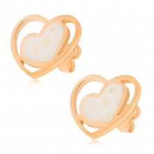 Zlaté náušnice z ocele, biele perleťové srdce v kontúre srdca