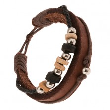 Multináramok - orieškový pás kože, šnúrky, krúžky z dreva a kovu