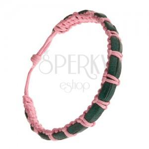 Pletený ružový náramok, dva tmavozelené prúžky kože na povrchu