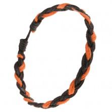 Oranžovo-čierny pletený šnúrkový náramok, vrkoč