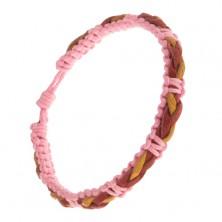 Pletený ružový náramok, červeno-žltý vrkoč z kože na povrchu