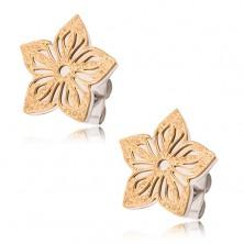 Dvojfarebné náušnice z ocele, pieskovaný vyrezávaný kvet
