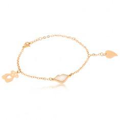 Šperky eshop - Oceľový náramok zlatej farby, perleťové pery, vyrezávaný macko, srdce S54.10