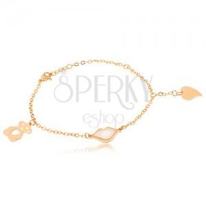 Oceľový náramok zlatej farby, perleťové pery, vyrezávaný macko, srdce