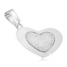 Prívesok z ocele - pieskované srdce s lesklým hladkým rámom