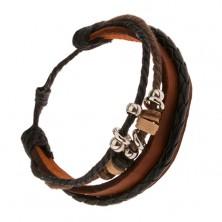 Multináramok - karamelový pás kože, čierny pletenec, užšie a širšie obruče