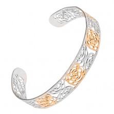 Vyrezávaný zlato-strieborný pieskovaný náramok z ocele, motív ruží