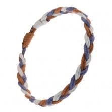 Náramok z fialových, hnedých a modrých šnúrok, vrkočový štýl