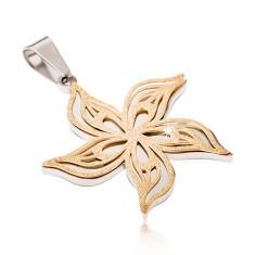 Strieborno-zlatý pieskovaný prívesok z ocele, zvlnený kvet