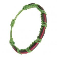 Pletený zelený šnúrkový náramok, čierny, ružový a zelený prúžok kože