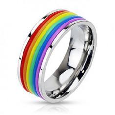 Lesklý oceľový prsteň s gumenými pásikmi vo farbách dúhy