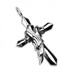 Šperky eshop - Prívesok z chirurgickej ocele - kríž s krídlom anjela G1.11