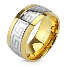 Oceľový prsteň, línia gréckeho kľúča, okraje zlatej farby