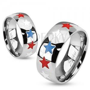 Prsteň z ocele, glazúrované hviezdy bielej, modrej a červenej farby
