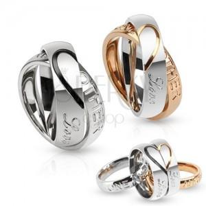Dvojitý oceľový prsteň, kontúra srdca, Love one another