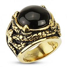 Mohutný zlatý prsteň z chirurgickej ocele, ónyx v dračích pazúroch