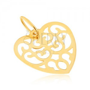 Prívesok v žltom 14K zlate - pravidelné vyrezávané srdce, ornamenty