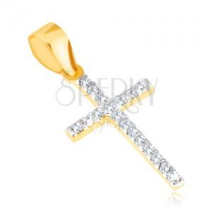 Prívesok v žltom 14K zlate - tenký trblietavý latinský kríž, číre zirkóny