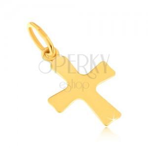 Lesklý prívesok zo žltého 14K zlata - plochý malý kríž, mierne sa rozširujúce ramená