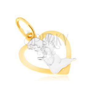 Dvojfarebný prívesok zo zlata 14K - kontúra pravidelného srdca, modliaci sa anjel