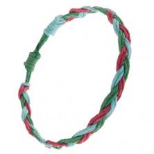 Náramok na ruku zo šnúrok modrej, zelenej a červenej farby, vrkoč
