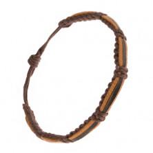 Pletený náramok - gaštanové šnúrky, čierny a dva škoricové pásy kože