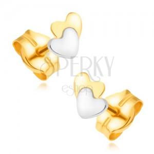 Zlaté náušnice 585 - žlto-biela kombinácia, prekrývajúce sa srdcia