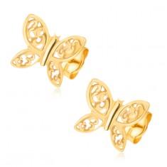 Šperky eshop - Náušnice zo žltého 14K zlata - ligotavé motýle, filigránové zdobenie GG21.18