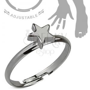 Prsteň na ruku alebo nohu, oceľovosivý, päťcípa hviezda
