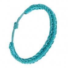 Akvamarínový pletený náramok zo šnúrok, motív húsenica