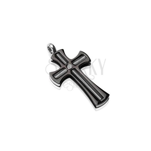 Prívesok z chirurgickej ocele - čierny kríž so závitovou tyčou a čírym zirkónom