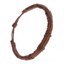 Čokoládovohnedý náramok zo šnúrok a kože, tri pásy na povrchu