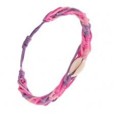 Pletený náramok s ulitou, úseky ružovej, fialovej a svetloružovej farby