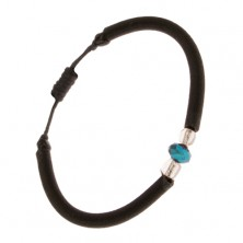 Čierny náramok z nylonu, oblý remienok, brúsený modrý kamienok