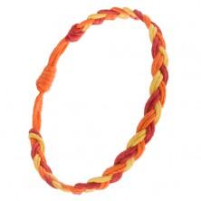 Žlto-oranžovo-červený náramok z motúzikov zapletaných do vrkoča