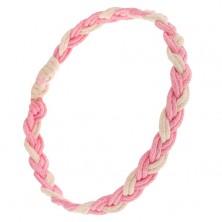 Pletený náramok zo šnúrok ružovej a krémovobielej farby, vrkoč