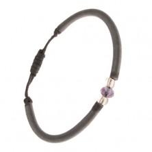 Nylonový náramok sivej farby, fialová brúsená korálka