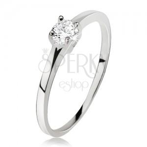 Hladký prsteň striebro 925, okrúhly číry zirkón v kotlíku so štyrmi kolíčkami