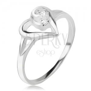 Srdiečkový prsteň, obrys asymetrického srdca, číre kamienky, striebro 925