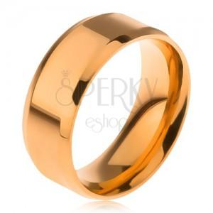 Lesklá obrúčka z ocele 316L, zlatá farba, skosené okraje