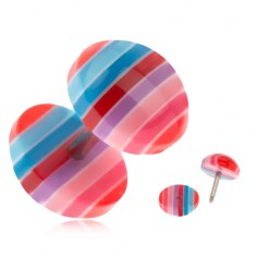 Šperky eshop - Falošný plug do ucha z akrylu - modré, červené a ružové pruhy PC26.26