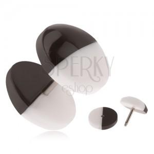 Akrylový falošný plug do ucha, čierno-biele vypuklé kolieska