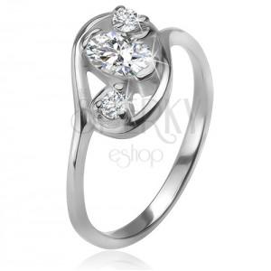 Zirkónový prsteň, obrys elipsy, tri číre brúsené kamienky, striebro 925