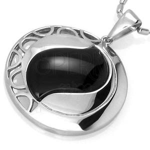 Prívesok kruh s čiernym achátom