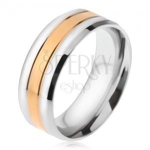 Oceľový prsteň, pásy striebornej a zlatej farby, zošikmené okraje