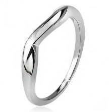 Zvlnený prsteň, hladké ramená, vlna, striebro 925