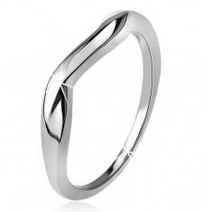 Šperky eshop - Zvlnený prsteň, hladké ramená, vlna, striebro 925 J18.2 - Veľkosť: 57 mm